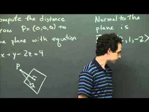Distance of a point to a plane | MIT 18.02SC Multivariable Calculus, Fall 2010
