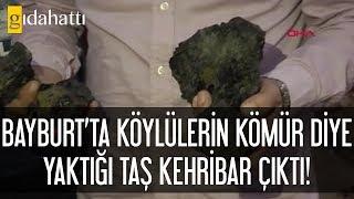 Bayburt'ta köylülerin kömür diye yaktığı taş kehribar çıktı!