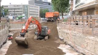 Bagger und LKW super Baustelle