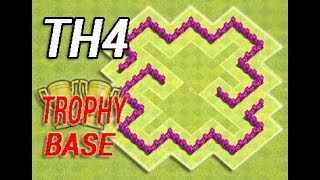 Best Town Hall 4 Defense ( TH4) BEST Trophy Base Layout Strategy I Clash Of Clans (COC) NEW 2017