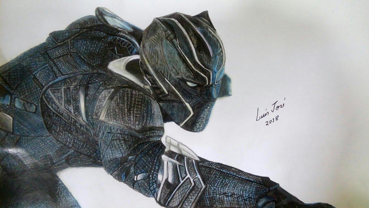 Desenhando O Pantera Negra Da Marvel Drawing Black Panther