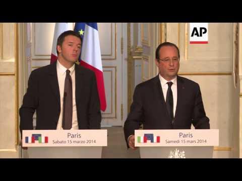 Hollande critical of upcoming Crimea referendum, Renzi on Euro