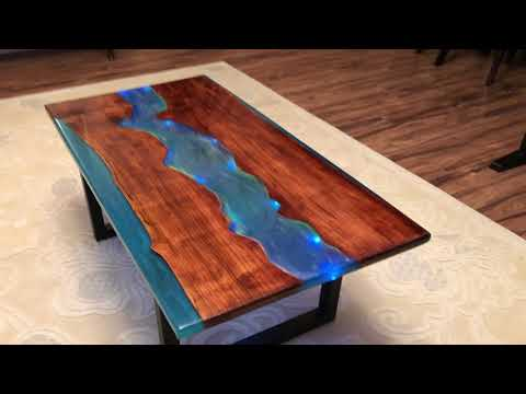Live edge Honey maple epoxy resin river coffee table