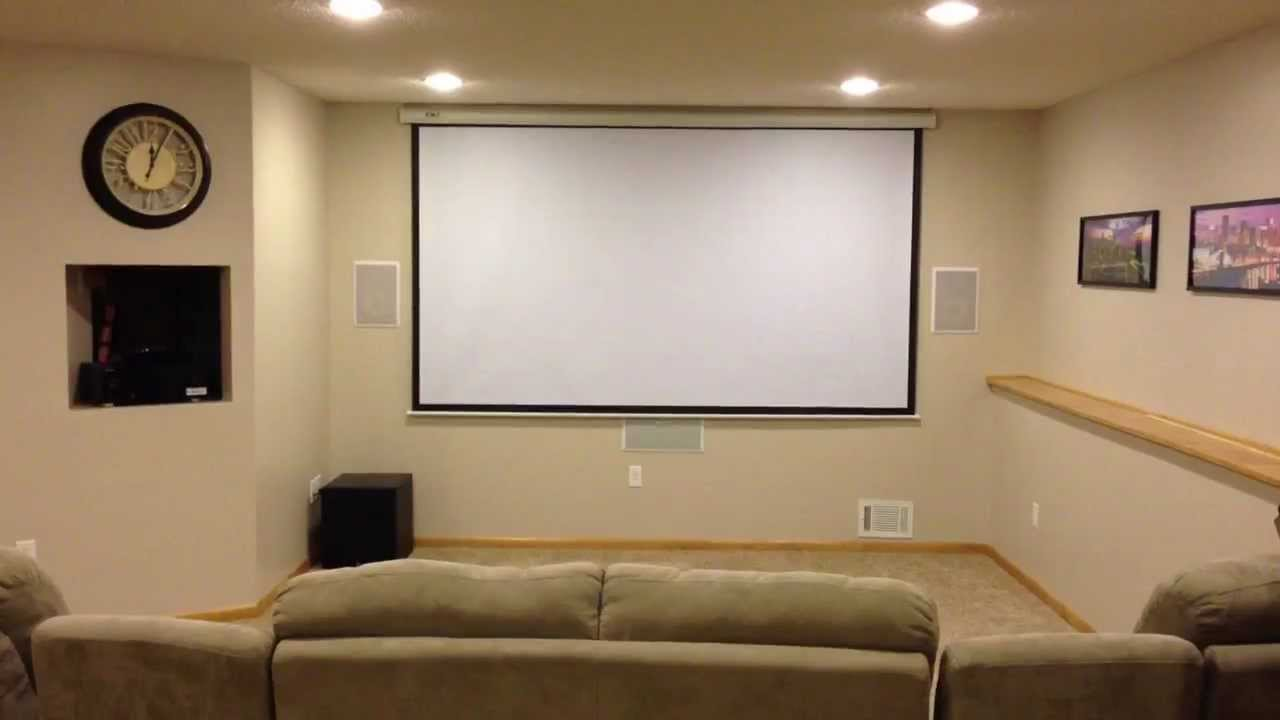 home theater on a budget overview youtube rh youtube com basement home theater tv vs projector Best Home Theater Projector