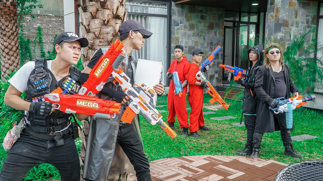 LTT Game Nerf War : SQUAD Warriors SEAL X Nerf Guns Fight Crime Group Mad Boss Rocket