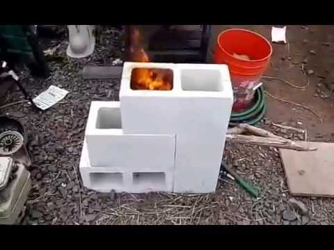 4 cinder block rocket hobo stove youtube for 4 block rocket stove