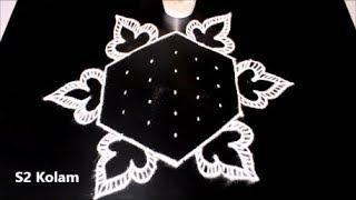 muggulu designs with 7X4 dots * easy kolam designs * creative rangoli designs * S2 Kolam