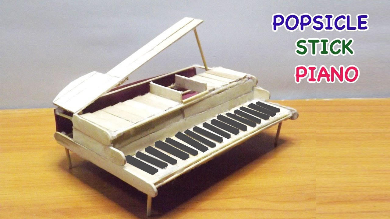 Popsicle Stick Crafts Diy Miniature Piano Easy Steps