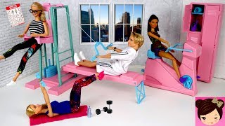 Barbie & Ken Morning Workout Routine - Barbie Doll Gym Toy Bike, Weights and Lockers