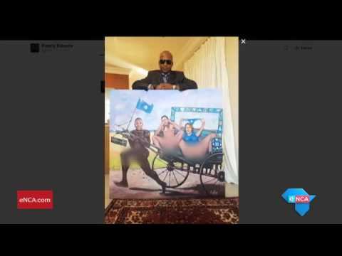 Kunene posses with new DA painting