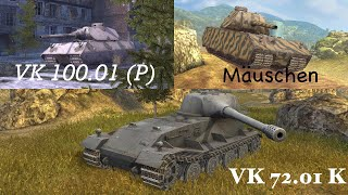 World of Tanks blitz M.A.J 5.5 test (VK 100.01 P, Mauschen, VK 72.01 K) Tiers 8,9,10