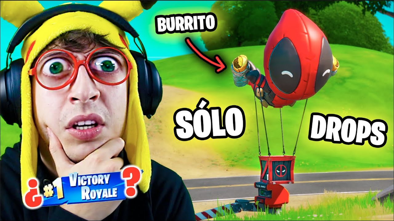 SÓLO DROP de **DEADPOOL** Challenge en Fortnite Battle Royale!! (RETO ganar looteando sólo drops)