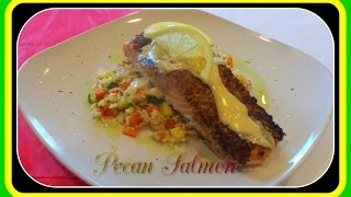 Pecan Salmon W/ Brown Rice Pilaf-cookingwithkin
