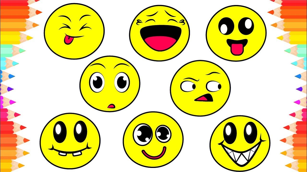 How to Draw Funny Emoji for Kids😃DIY Coloring Pages for Children😊Art for  Kids Step by Step Drawing