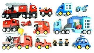 مجموعة ألعاب بناء شاحنة الإطفاء، سيارة الشرطة، عربات الطرقات للأطفال من Lego Duplo
