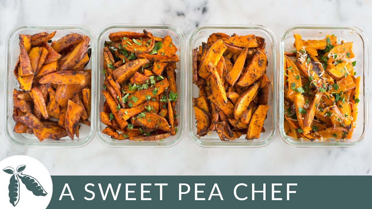 Easy Sweet Potato Meal Prep | Baked Sweet Potato Fries 4 Ways | A Sweet Pea Chef