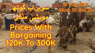 Sohrab Goth Cow Mandi Block 35 and 38 Prices Update 19 July 2019