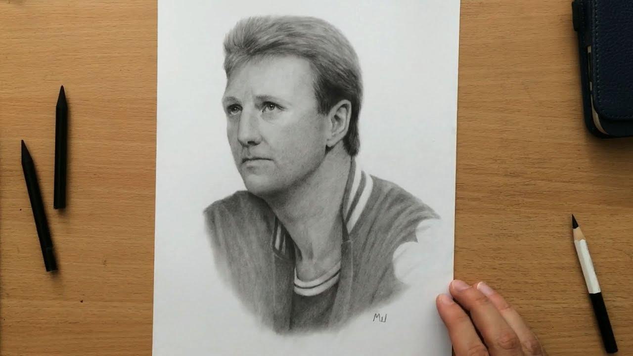 Larry bird pencil drawing portrait of the boston celtics nba basketball legend