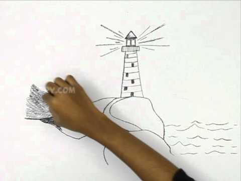 how to draw a light house youtube