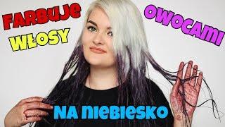 FARBUJĘ WŁOSY OWOCAMI NA NIEBIESKO | Farbowanie czereśniami | Cherry hair dye test |