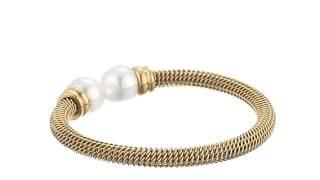 Majorica 12mm White Pearls on Gold Stainless Steel Bangle Bracelet