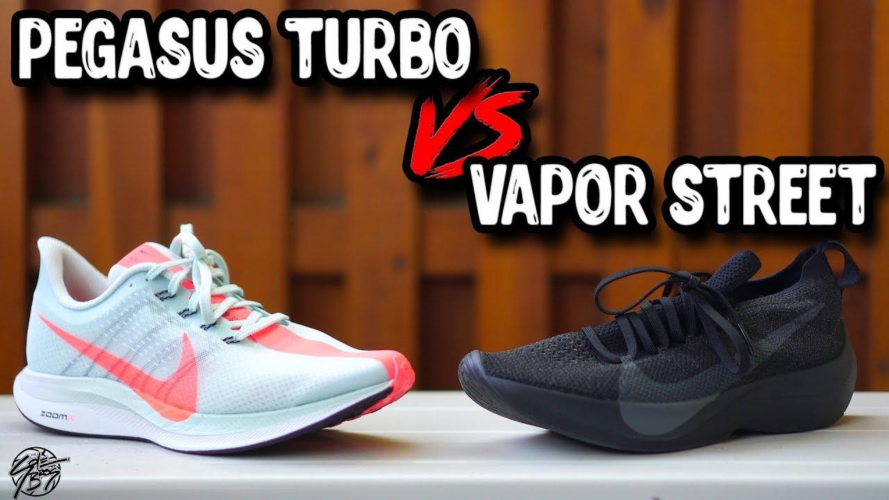 cedb136be1917 Nike Zoom Pegasus Turbo VS React Vapor Street Flyknit! - YouTube