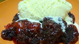 Delicious 3 Ingredient Slow Cooker Dump Cake  - Chocolate & Cherry Cake - So Easy!!