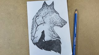 How to draw Scenery of Moonlight Wolf step by step | Hihi Pencil