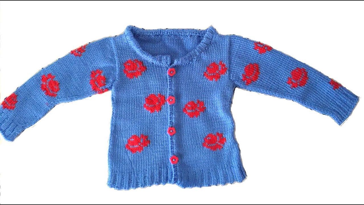 Baby sweater rose motifs knitting pattern youtube bankloansurffo Gallery
