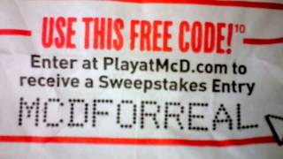 Update How to Win McDonalds PlayatMcD.com 3 FREE Codes Video