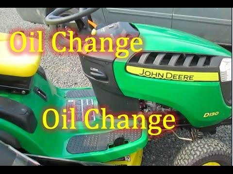 Lawn Mower Oil Change >> HOW TO Change John Deere D130 Oil Change Riding Lawn Mower Maintenance - YouTube