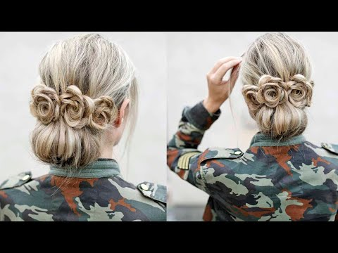 easy-low-bun-with-flower-accents---diy-tutorial