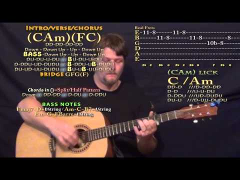 Break Up with Him (Old Dominion) Guitar Lesson Chord Chart - Capo 3rd
