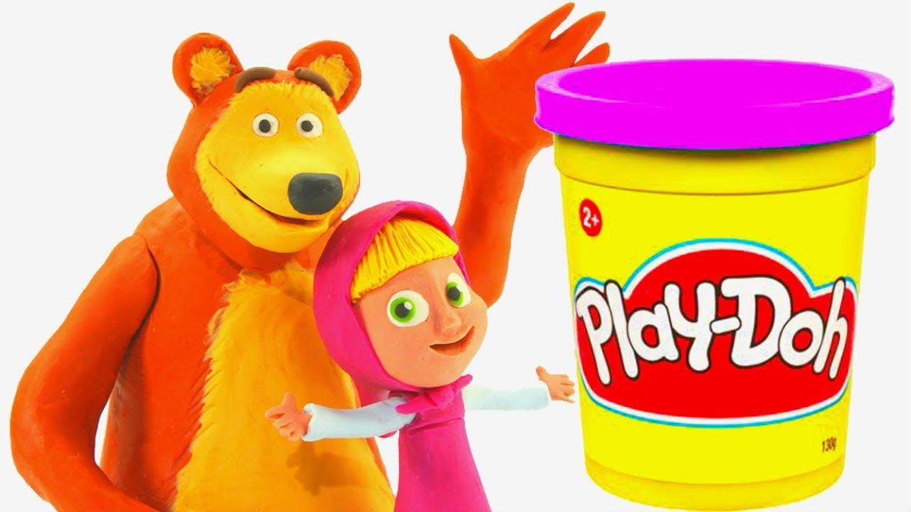 Masha and the Bear PICNIC Basket Play-doh Toy Set - YouTube