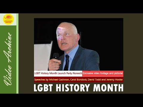 LGBT History Month Launch Party Norwich UK Speeches by Michael Cashman and Carol Bundock