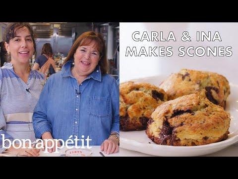 Carla and Ina Garten Make Chocolate-Pecan Scones | From the Test Kitchen | Bon Apptit