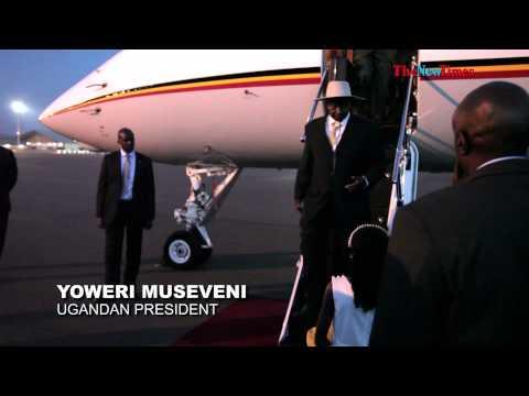 President Museveni arrives at Kigali International Airport