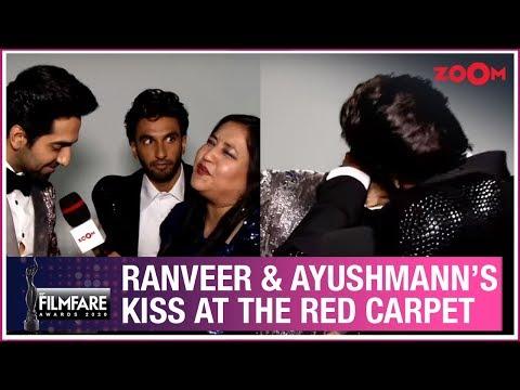 Ranveer Singh And Ayushmann Khurrana's HILARIOUS Kiss At Filmfare Awards 2020 Red Carpet