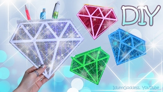 How To Make A Diamond Pencil Case – DIY Gemstones Pencil Cases Out Of Tape, Paper and Glitter