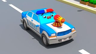 Police Car Chases Monster Truck - Cars Town - Cartoons for Kids