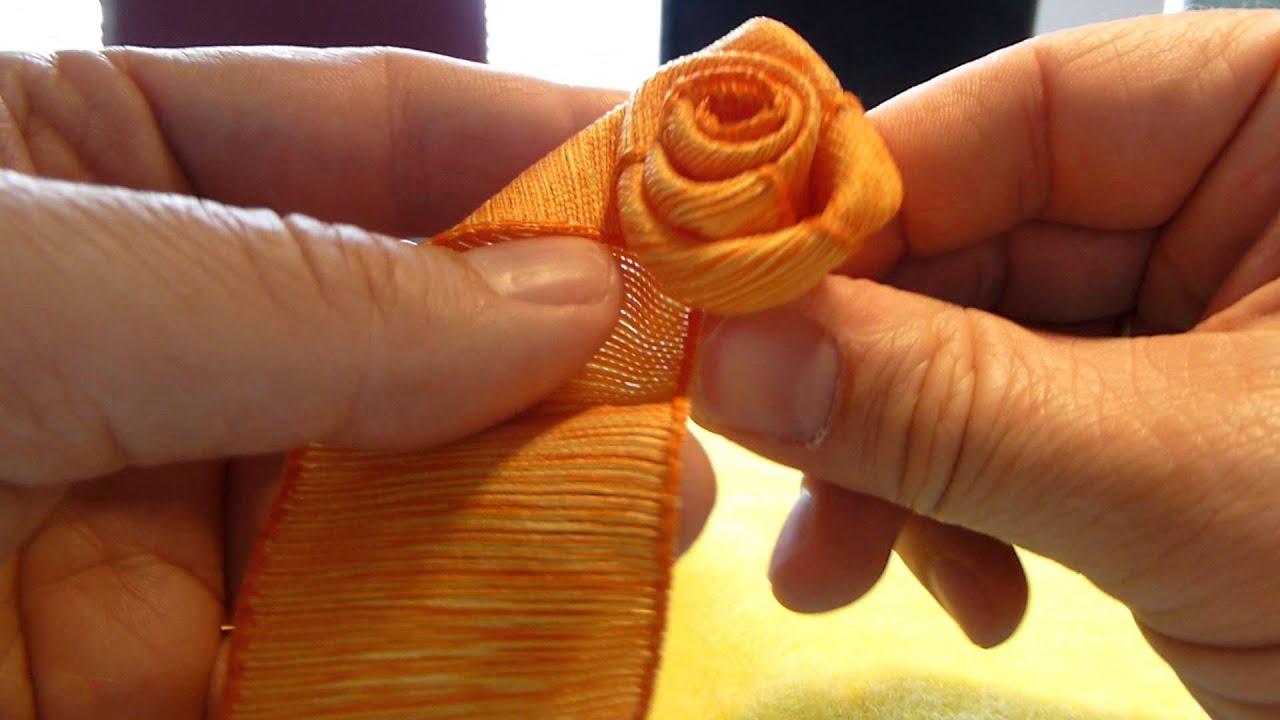 blumen aus stoff selber basteln, einfache rose selber binden, do it yourself ribbon rose - youtube, Design ideen