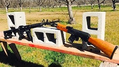 AK-47 VS AR-15 - 7.62 VS 5.56 VS CONCRETE BLOCK