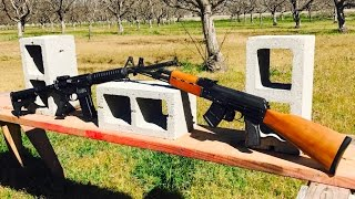 AK-47 VS AR-15 - 7.62 VS 5.56 VS CONCRETE BLOCK