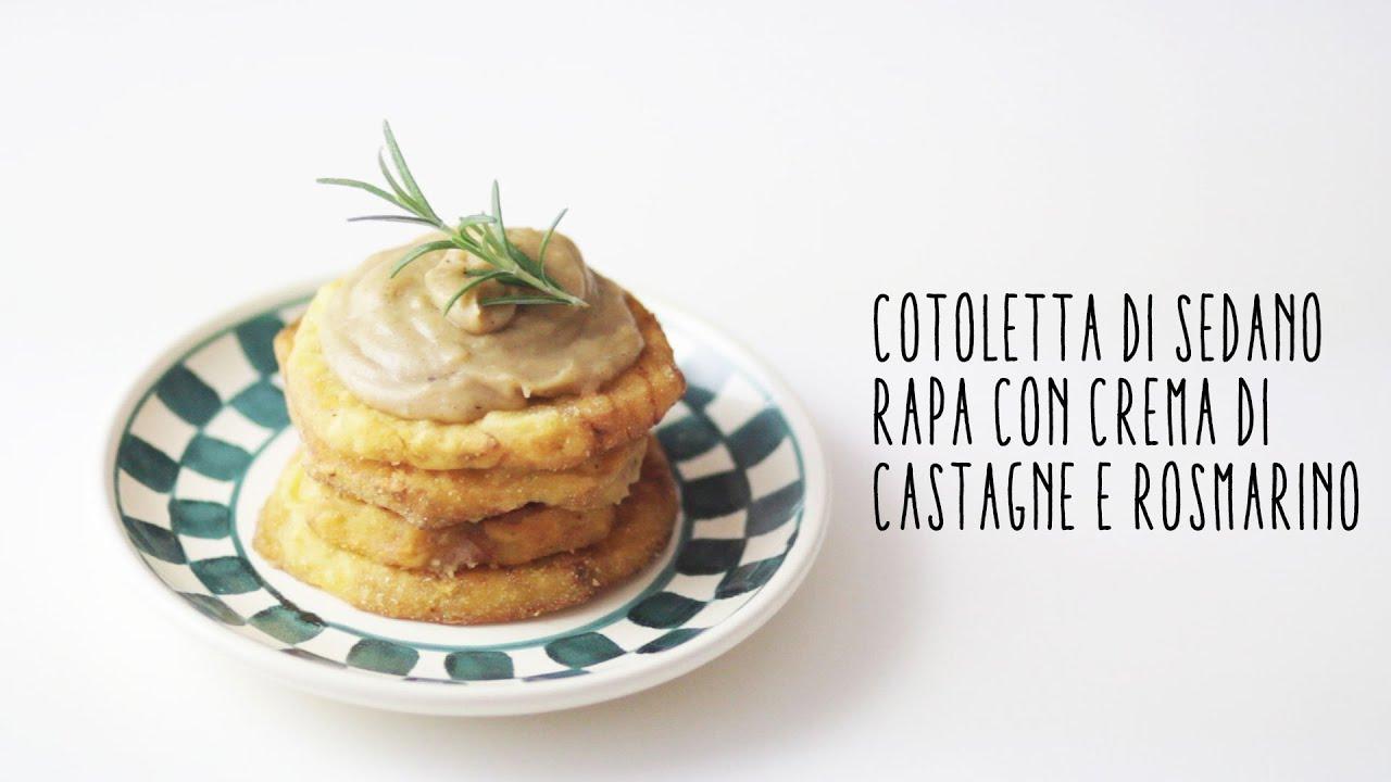 Cotoletta vegana di sedano rapa con crema di castagne e rosmarino