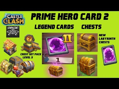 Opening Prime Hero Card 2, Crest Set Pack Level 3, New Labyrinth Chests And More  Castle Clash