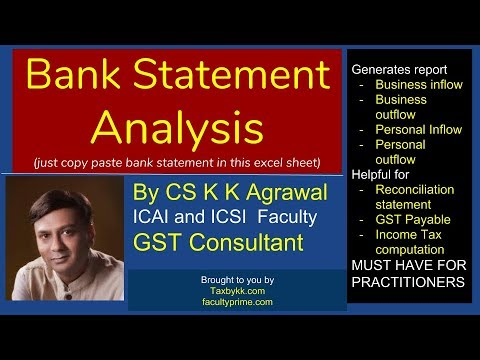 Bank statement analysis 2018-19 for GST Practitioners  (http://imojo in/6gmxv1)