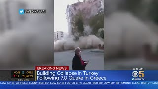 7.0 Earthquake In Aegean Sea Shakes Turkey, Greece; Buildings Toppled, Tsunami Floods Streets