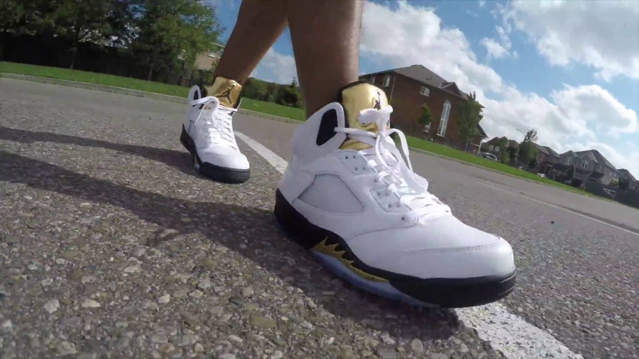 fa2e746a315 TOO MUCH GOLD? (JORDAN 5 OLYMPIC REVIEW/ ON FEET) - YouTube