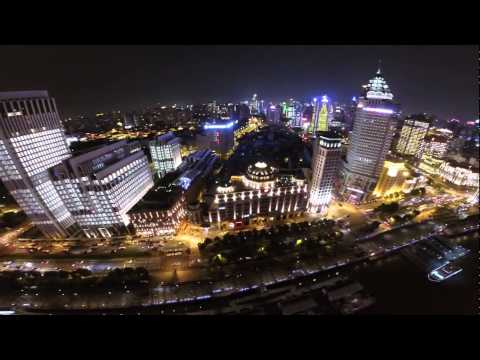 ShangHai at night  Aerial video