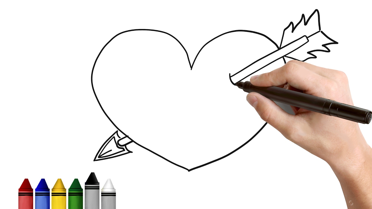 how to draw heart with an arrow drawing for kids tutorial art
